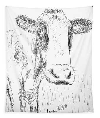Cow Doodle Tapestry