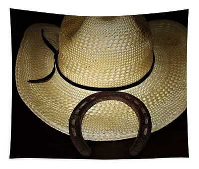 Cowboy Hat And Horseshoe Tapestry
