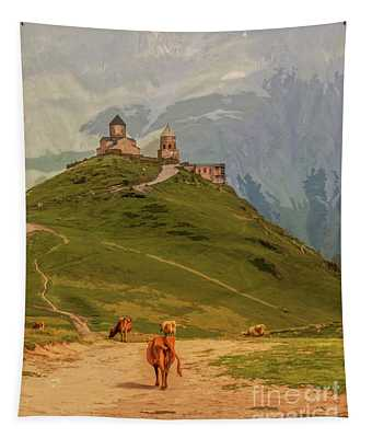 Cows Grazing In Mountains-gergeti Trinity Church Perched On Moun Tapestry