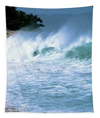 Crashing Wave Sunset Beach Tapestry