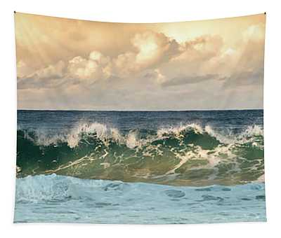 Crashing Waves And Cloudy Sky Tapestry