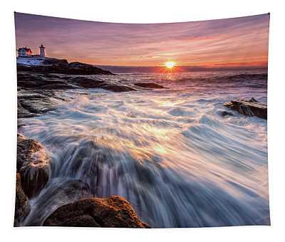 Crashing Waves At Sunrise, Nubble Light.  Tapestry