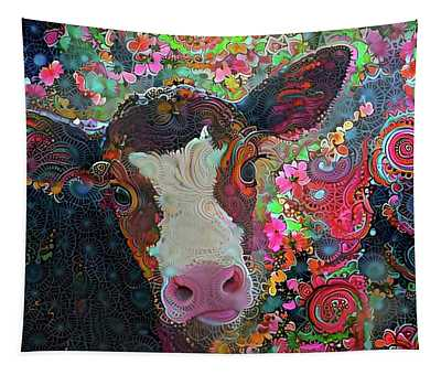 Crazy Colorful Cow Tapestry