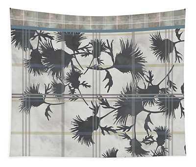 Cream Thistle Plaid Contrast Border Tapestry
