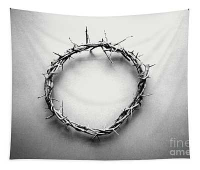 Crown Of Thorns In Black And White  Tapestry