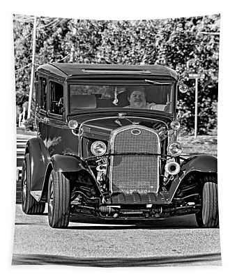 Cruising Sauble Beach - Red Ford Hotrod Bw Tapestry