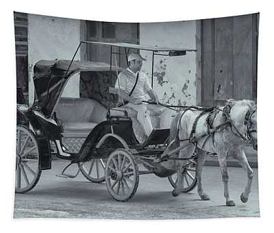 Cuban Horse Taxi Tapestry