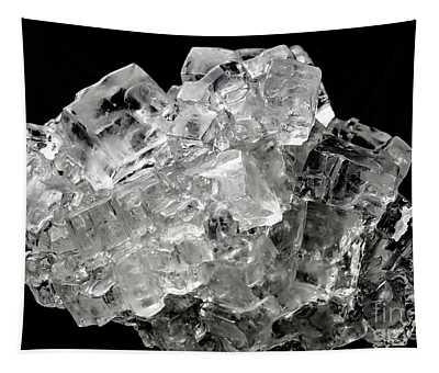 Cubic Salt Crystal Aggregate Against Black Background Tapestry