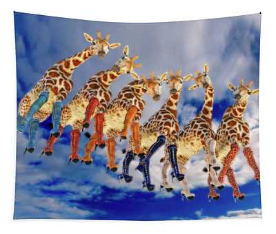Curious Giraffes  Tapestry