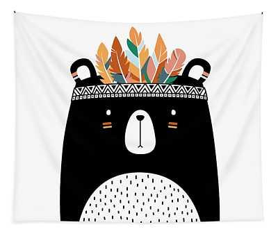 Cute Tribal Bear - Boho Chic Ethnic Nursery Art Poster Print Tapestry