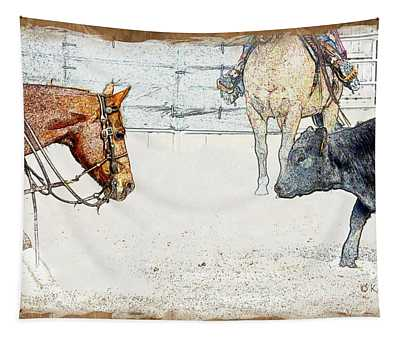 Cutting Horse At Work Tapestry