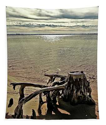 Cypress On The Beach Tapestry