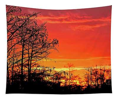 Cypress Swamp Sunset 2 Tapestry