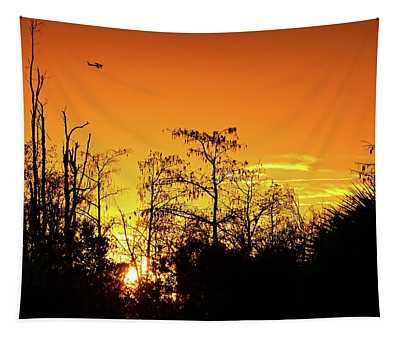 Cypress Swamp Sunset 3 Tapestry