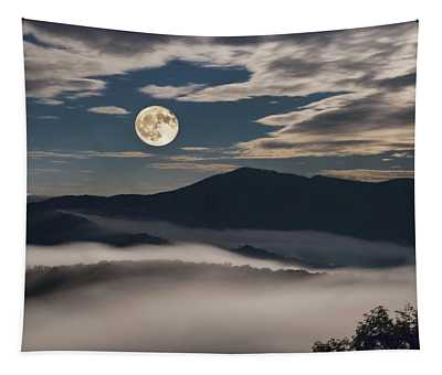 Dance Of Clouds And Moon Tapestry