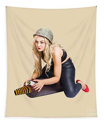 Danger Pin Up Girl Riding On Nuclear Bomb Tapestry