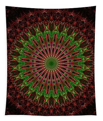 Tapestry featuring the digital art Dark Red And Green Mandala by Jaroslaw Blaminsky