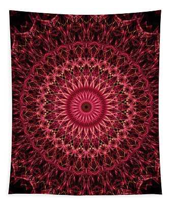 Dark Red Mandala Tapestry
