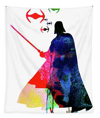 Darth Fighting Watercolor 1 Tapestry