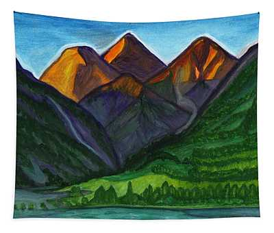 Sunrise In The Mountains Tapestry