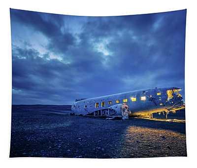 Dc-3 Plane Wreck Illuminated Night Iceland Tapestry