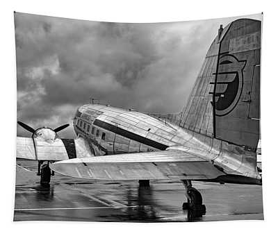 Dc-3 Under A Stormy Sky Tapestry