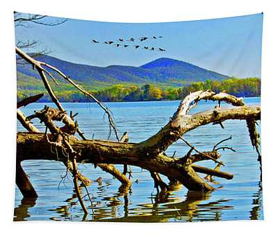 Dead Tree Geese, Smith Mountain Lake Tapestry