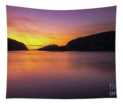 Deception Pass Sunset Serenity Tapestry