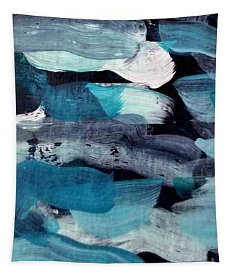 Tapestry featuring the painting Deep Blue #1 by Maria Langgle