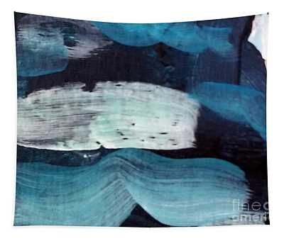 Tapestry featuring the painting Deep Blue #3 by Maria Langgle