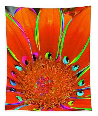 Deep Coral Bloom  Tapestry