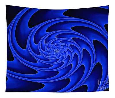 Deep Spiral Blue Tapestry