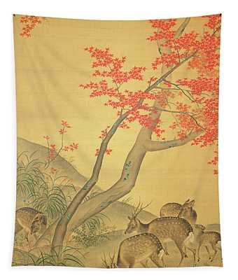 Deer Under A Maple Tree Tapestry