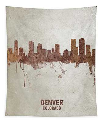 Denver Colorado Rust Skyline Tapestry