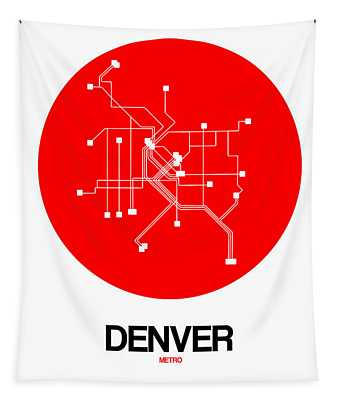 Denver Red Subway Map Tapestry