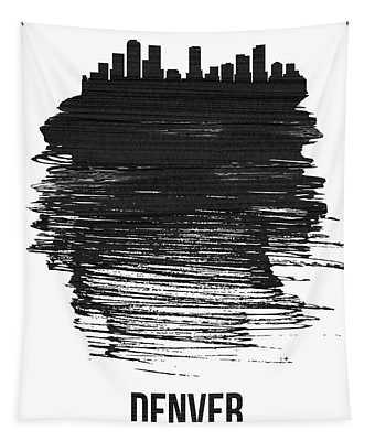 Denver Skyline Brush Stroke Black Tapestry