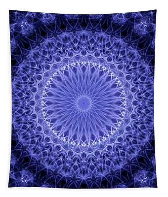 Detailed Blue And White Mandala Tapestry