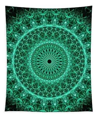 Detailed Green Mandala Tapestry