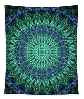 Tapestry featuring the digital art Detailed Mandala In Plum And Malachite Green Colors by Jaroslaw Blaminsky