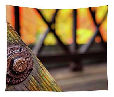 Details On A Covered Bridge Tapestry