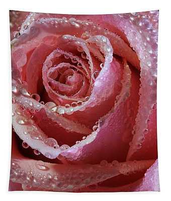 Dewdrops On Dusky Pink Rose Tapestry