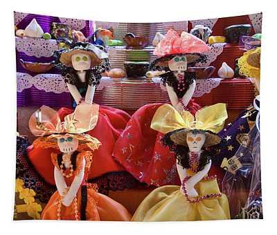 Dia De Los Muertos Candy Catrinas Tapestry