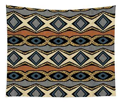 Diamond And Eye Motif With Leopard Accent Tapestry