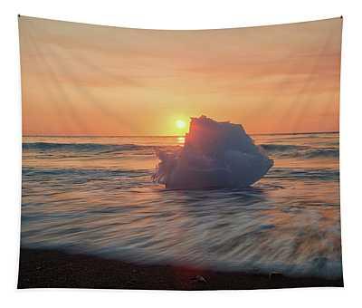 Diamond Beach Sunrise Iceland Tapestry