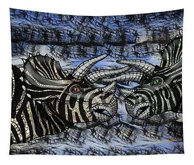 Dinosaur Triceratops Head On Battle Tapestry