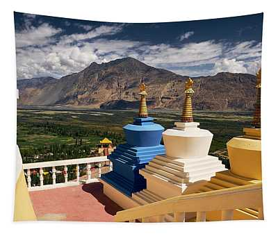 Tapestry featuring the photograph Diskit Gompa by Whitney Goodey