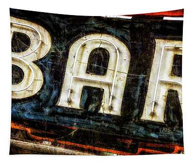 Distressed Aged Neon Bar Sign Tapestry