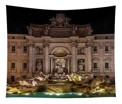 Tapestry featuring the photograph Ditrevi Fountain At Night by Jaroslaw Blaminsky