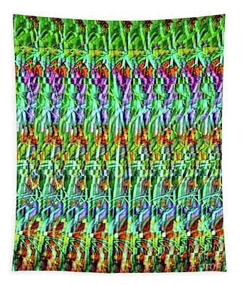 Dna Autostereogram Qualias Grass Green Tapestry