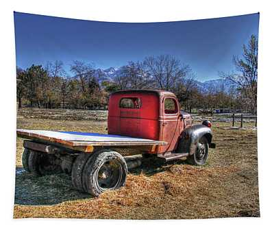 Dodge Flat Bed Truck On Farm Tapestry